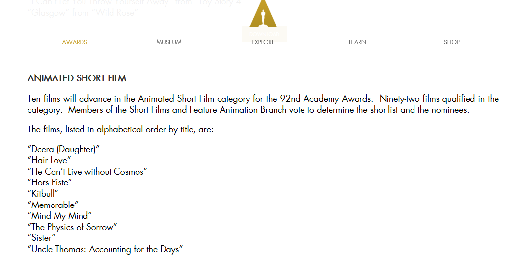 Daughter has made it to the Oscar awards shortlist